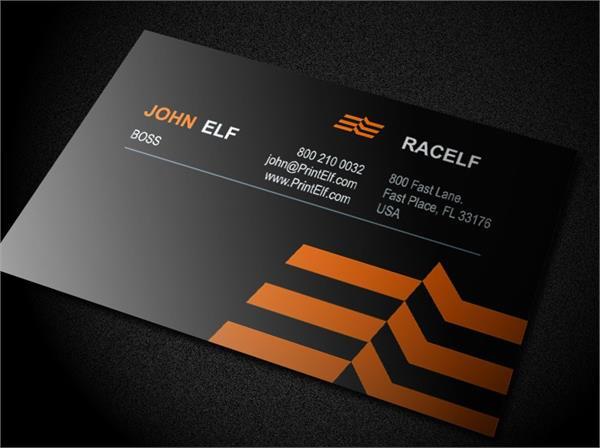 Racelf business card design