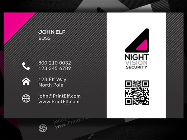 Night vision security business card design