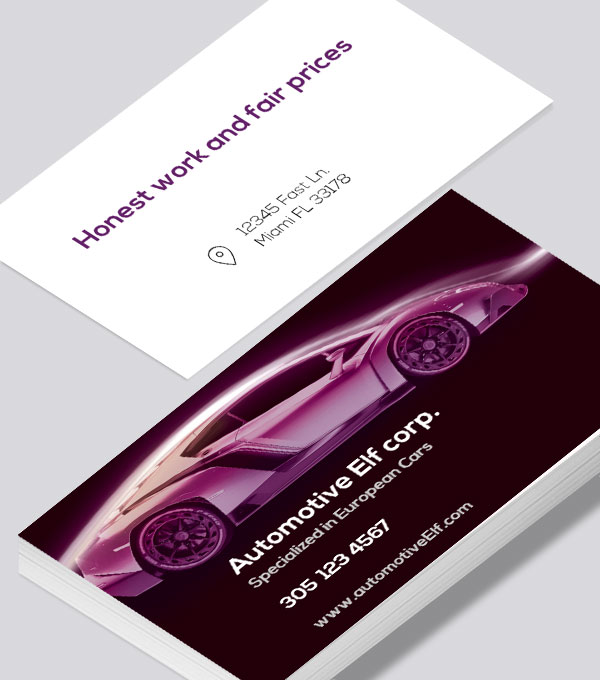 Automotive business card with dark background for CMYK