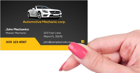 automorive mechanic tuner detailer business card