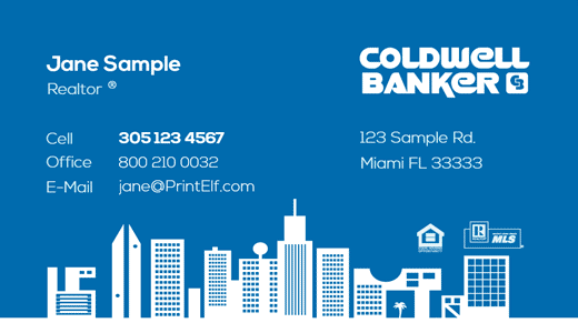 Coldwell Banker business card design blue white buildings