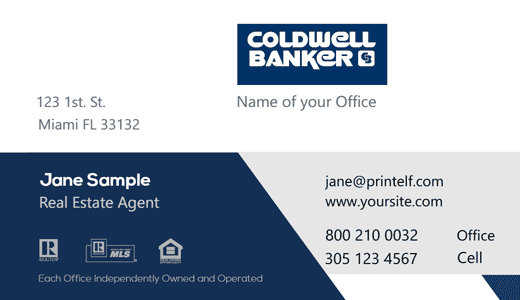 Coldwell Banker red blue business card design