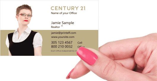 Hand holding business card - Century 21 Realtor Broker business card