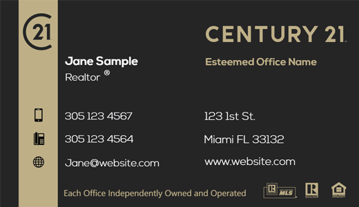 Modern design. Century 21 Residential and commercial business card for Agents and Realtors