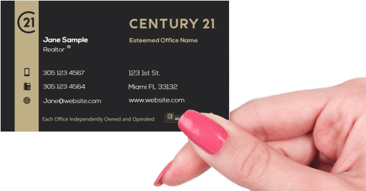 Hand holding business card - Century 21 Residential business card