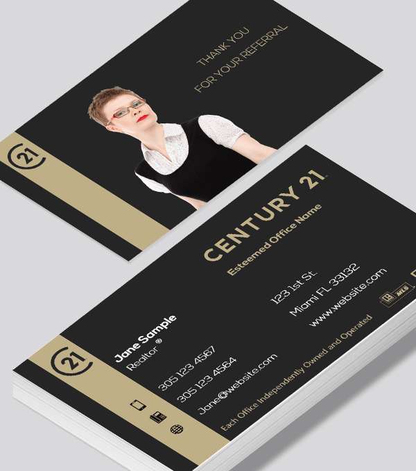 Modern contemporary business card design -Century 21 Residential business card