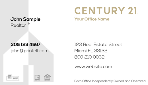 Modern design. Century 21 Residential and Commercial business cards