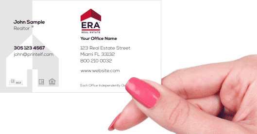 Hand holding business card - ERA Real Estate residential commercial business card