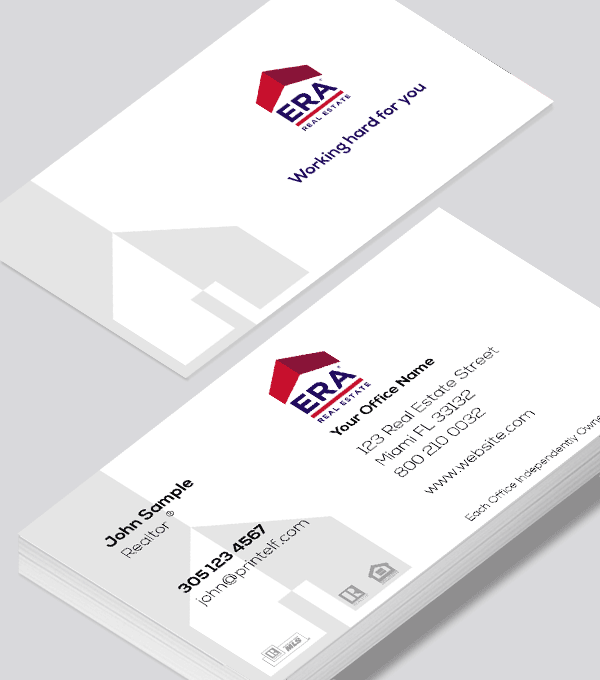 Modern contemporary business card design -ERA Real Estate residential commercial business card