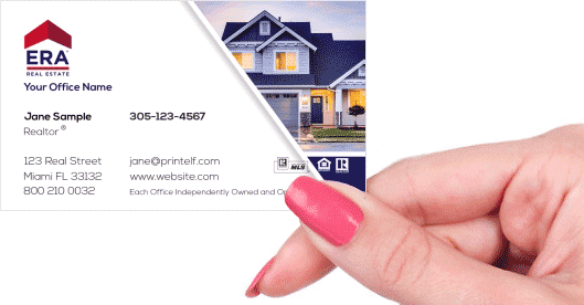 Hand holding business card - ERA Real Estate residential business card