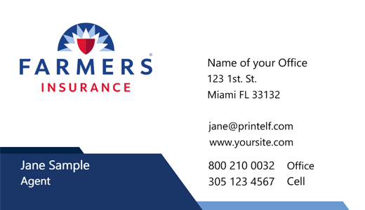Modern design. Farmers Insurance  business cards clean cut look