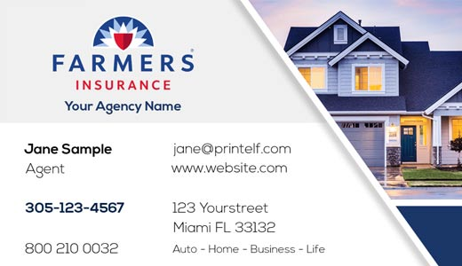 Modern design. Farmers Insurance  business cards for Home insurance
