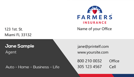 Modern design. Farmers Insurance  business cards for life insurance