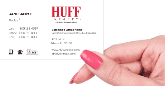 Hand holding business card - HUFF Making Dreams Come True business card