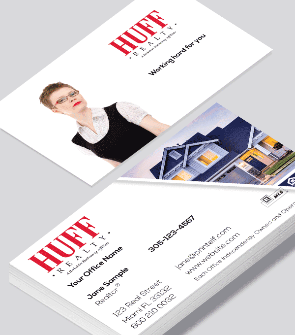 Modern contemporary business card design -HUFF Realty residential business card