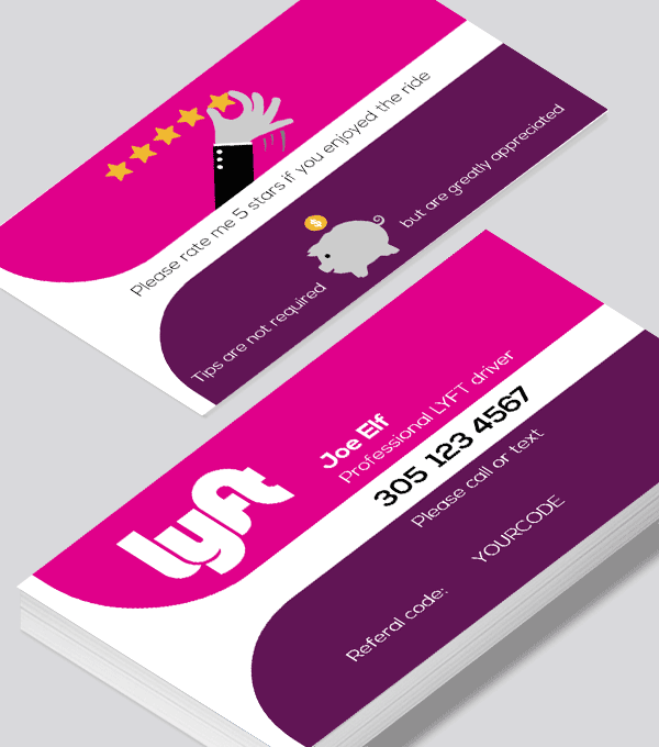 Modern contemporary business card design -LYFT-with-promo-code-business-card