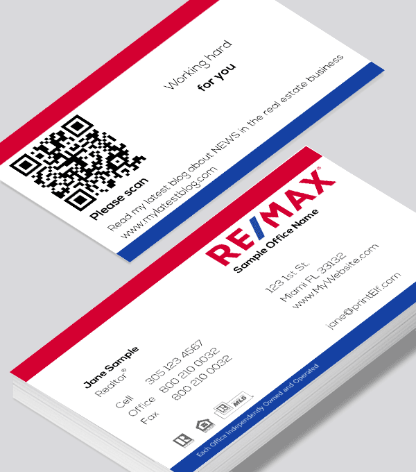 Modern contemporary business card design -ReMax classic QR code business card