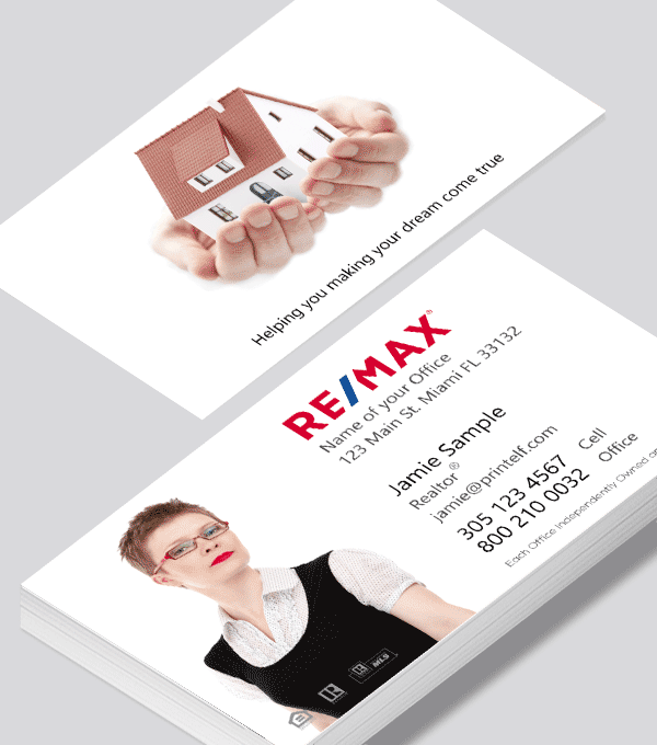 Modern contemporary business card design -ReMax Realtor business card with house