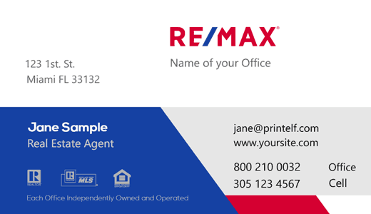 Modern design. ReMax patriot flag business card