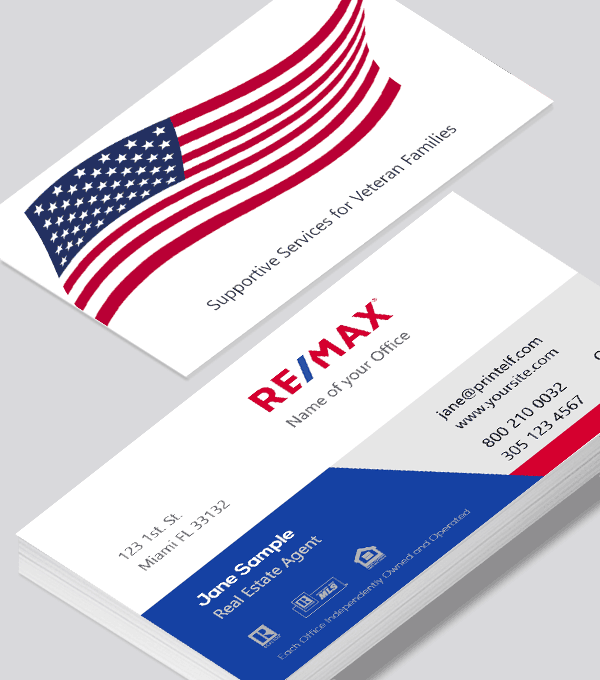 Modern contemporary business card design -ReMax Realtor Veterans business card