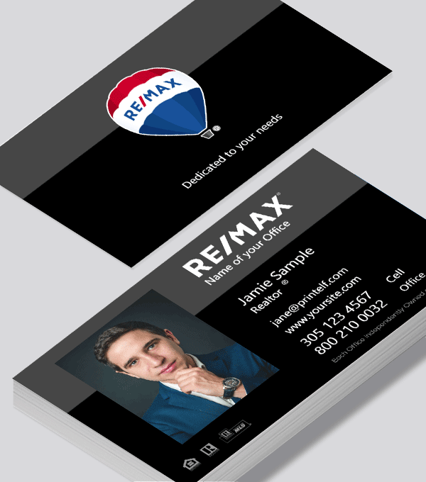 Modern contemporary business card design -Remax black business card