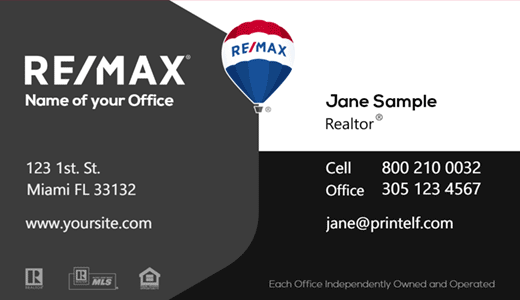 Modern design. ReMax black gray and white business card