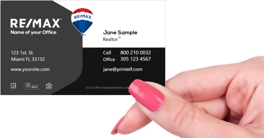 Hand holding business card - Remax black white gray business card