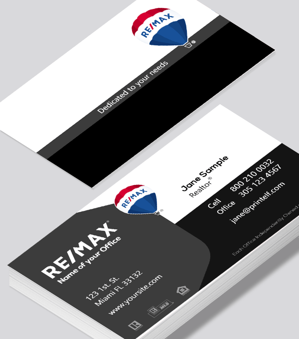 Modern contemporary business card design -Remax black white gray business card