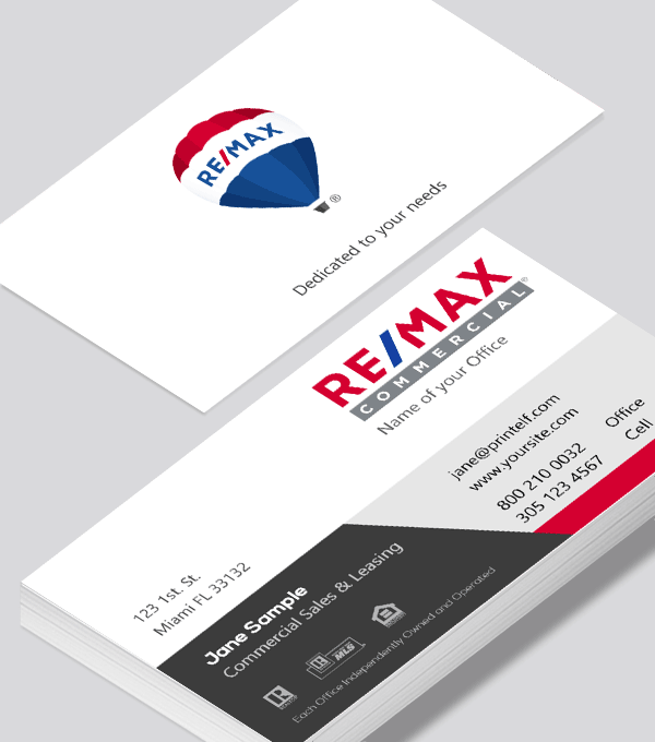 Modern contemporary business card design -ReMax-Commercial-business-card-2
