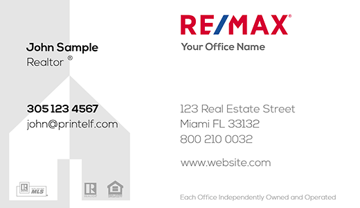 Modern design. Remax business card with light gray house background