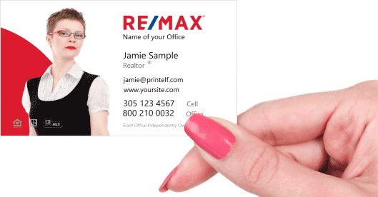 Hand holding business card - ReMax modern red business card