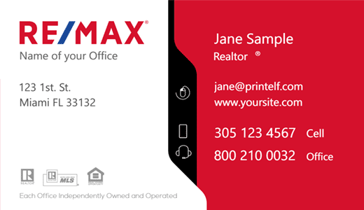 Modern design. ReMax business card. White red black and blue.