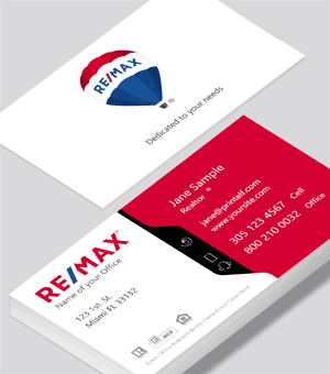 ReMax business card. White red black and blue.