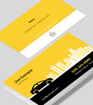 Taxi Driver business card light yellow