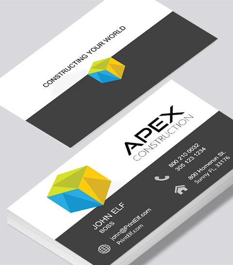 apex construction business card modern design