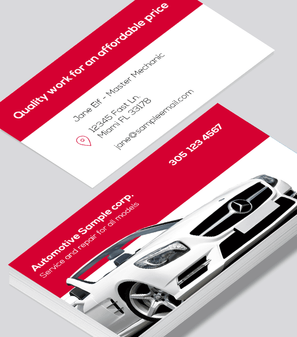 Modern contemporary business card design -Automotive body shop business card red