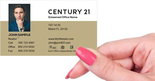 Hand holding business card - Century 21 Affiliate business card