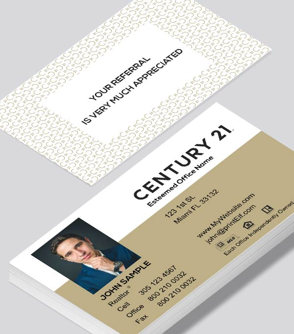Modern contemporary business card design -Century 21 Affiliate business card