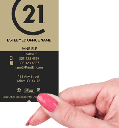 Hand holding business card - Century 21 broker business card