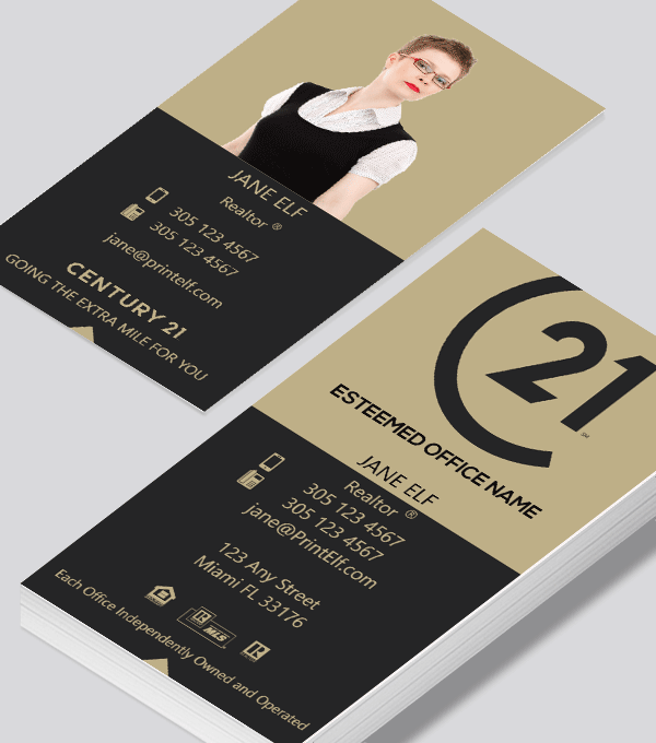 Modern contemporary business card design -Century 21 broker business card