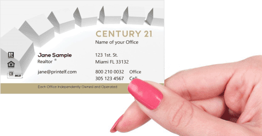 Hand holding business card - Century 21 Associate Realtor business card