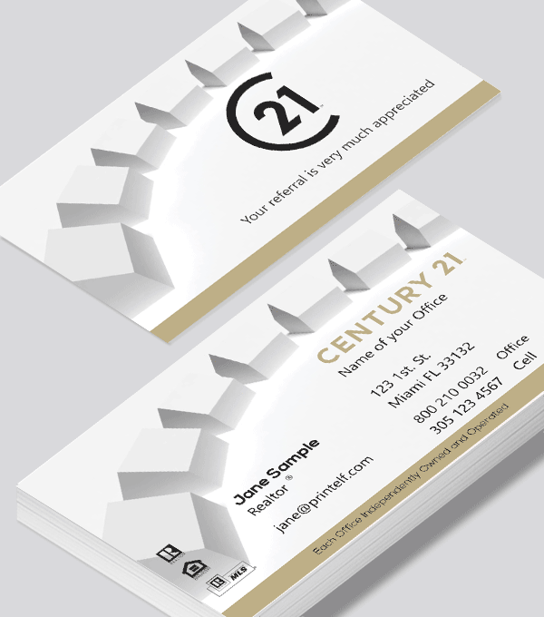 Modern contemporary business card design -Century 21 Associate Realtor business card