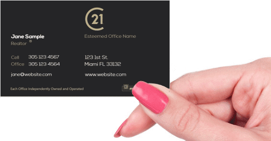 Hand holding business card - Century 21 business card