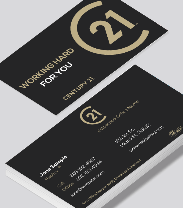 Modern contemporary business card design -Century 21 business card
