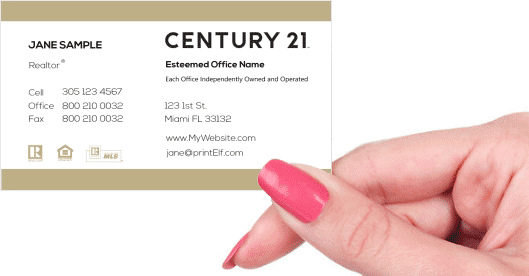 Hand holding business card - Century 21 Classic business card