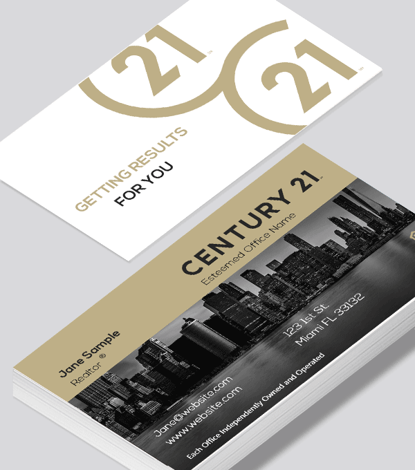 Modern contemporary business card design -Century 21 Development business card