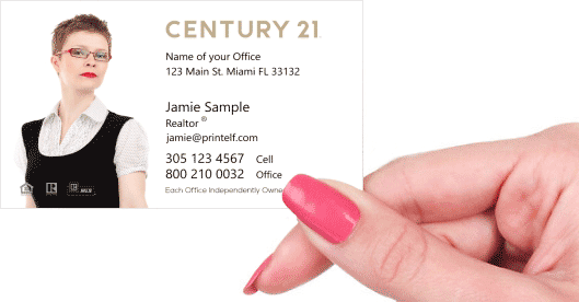 Hand holding business card - Century 21 dwelling business card