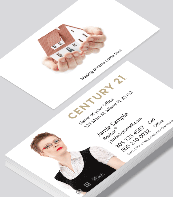 Modern contemporary business card design -Century 21 dwelling business card