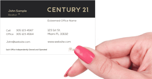 Hand holding business card - Century 21 agent business card