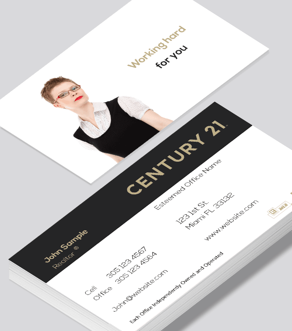 Modern contemporary business card design -Century 21 agent business card